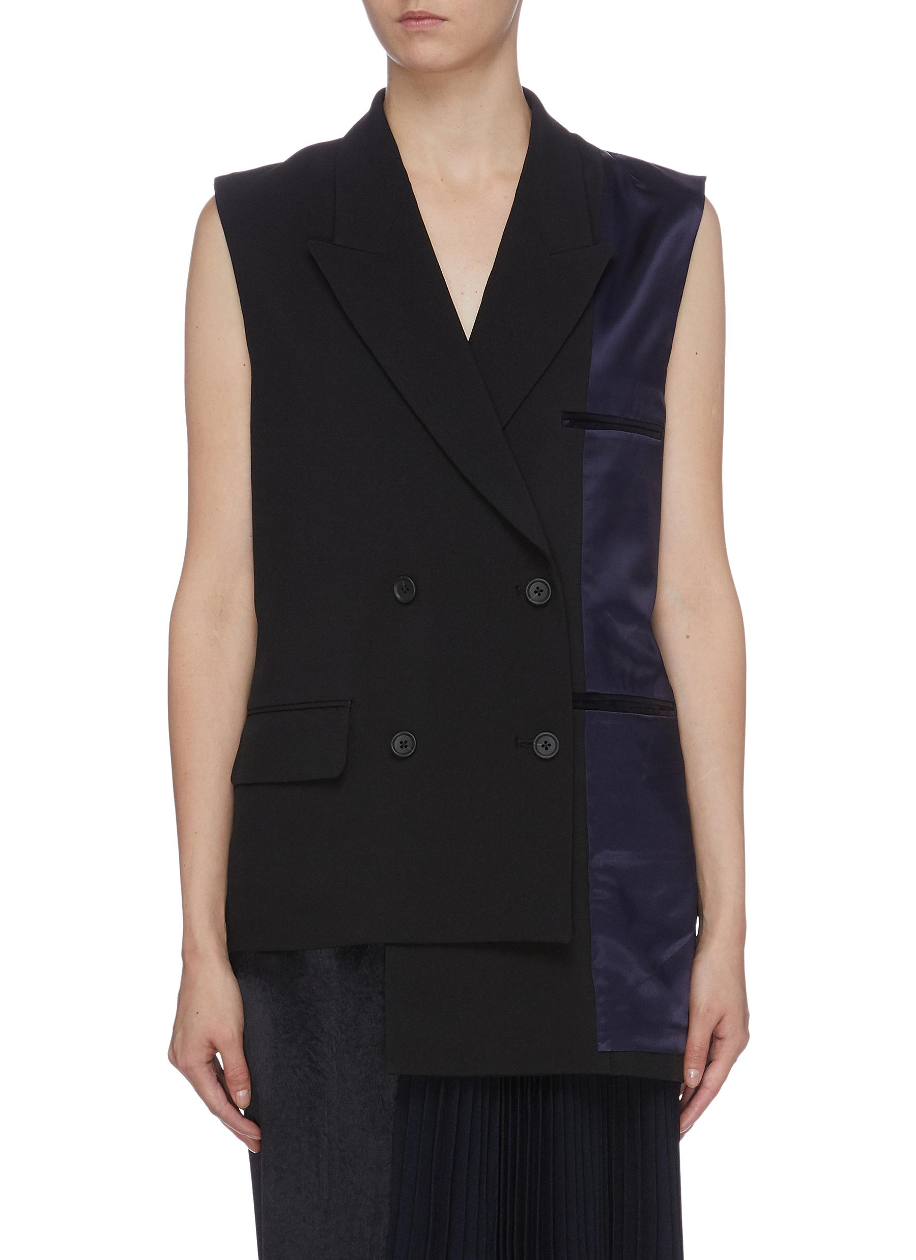 Reversible satin inside-out panel asymmetric double breasted gilet by The Keiji