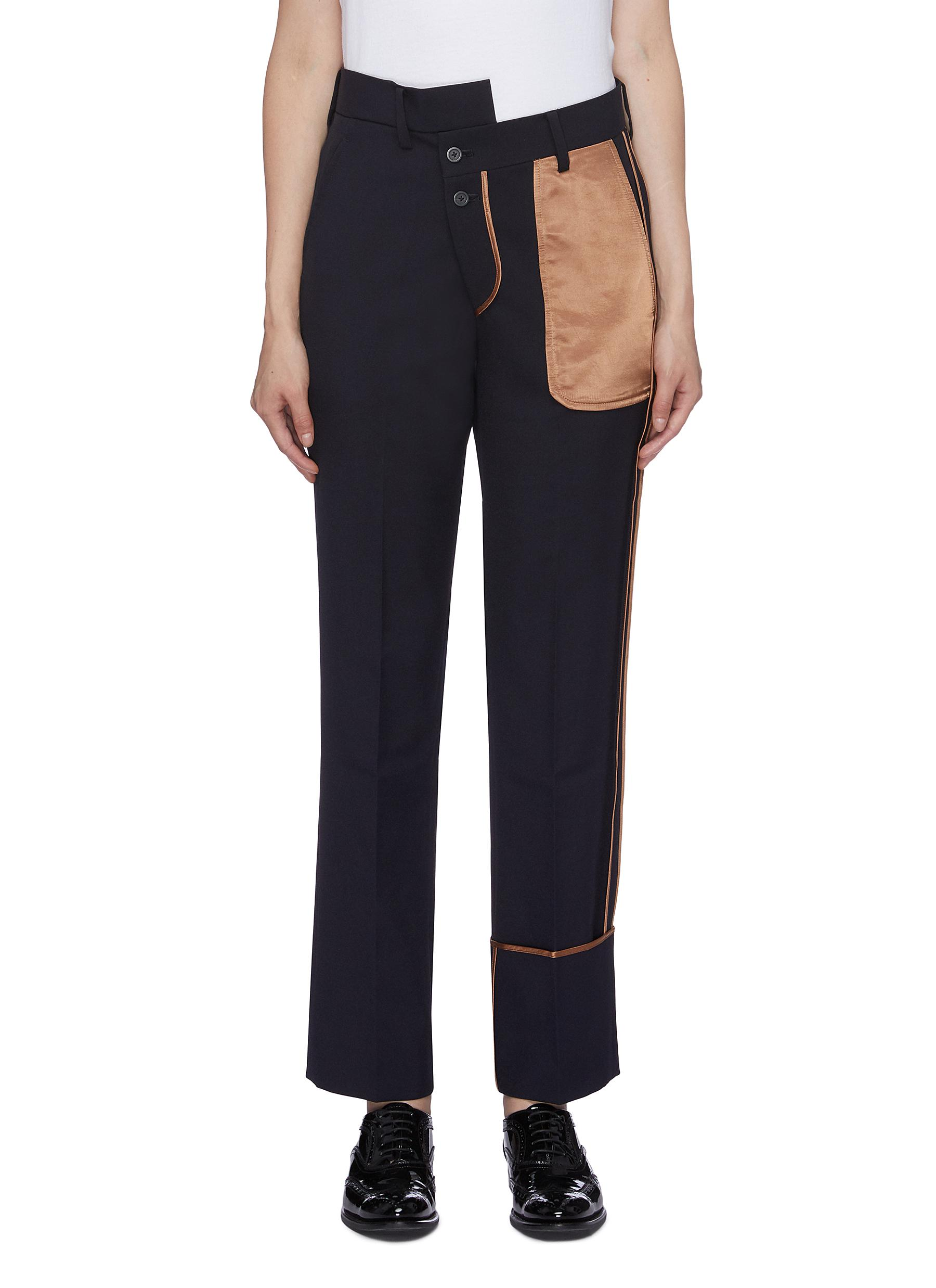 Satin inside-out panel staggered waist pants by The Keiji