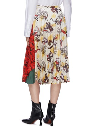 Back View - Click To Enlarge - TOGA ARCHIVES - Colourblock abstract print patchwork pleated skirt