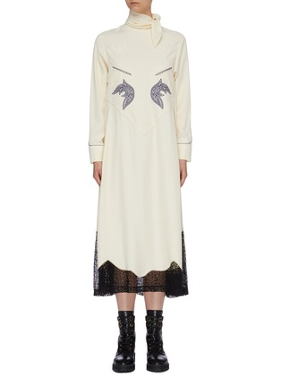 Main View - Click To Enlarge - TOGA ARCHIVES - Sash scarf neck graphic embroidered lace hem dress
