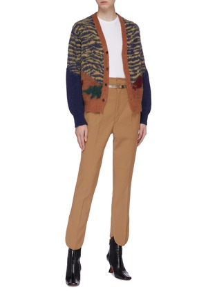 Figure View - Click To Enlarge - TOGA ARCHIVES - Colourblock animal print jacquard cardigan
