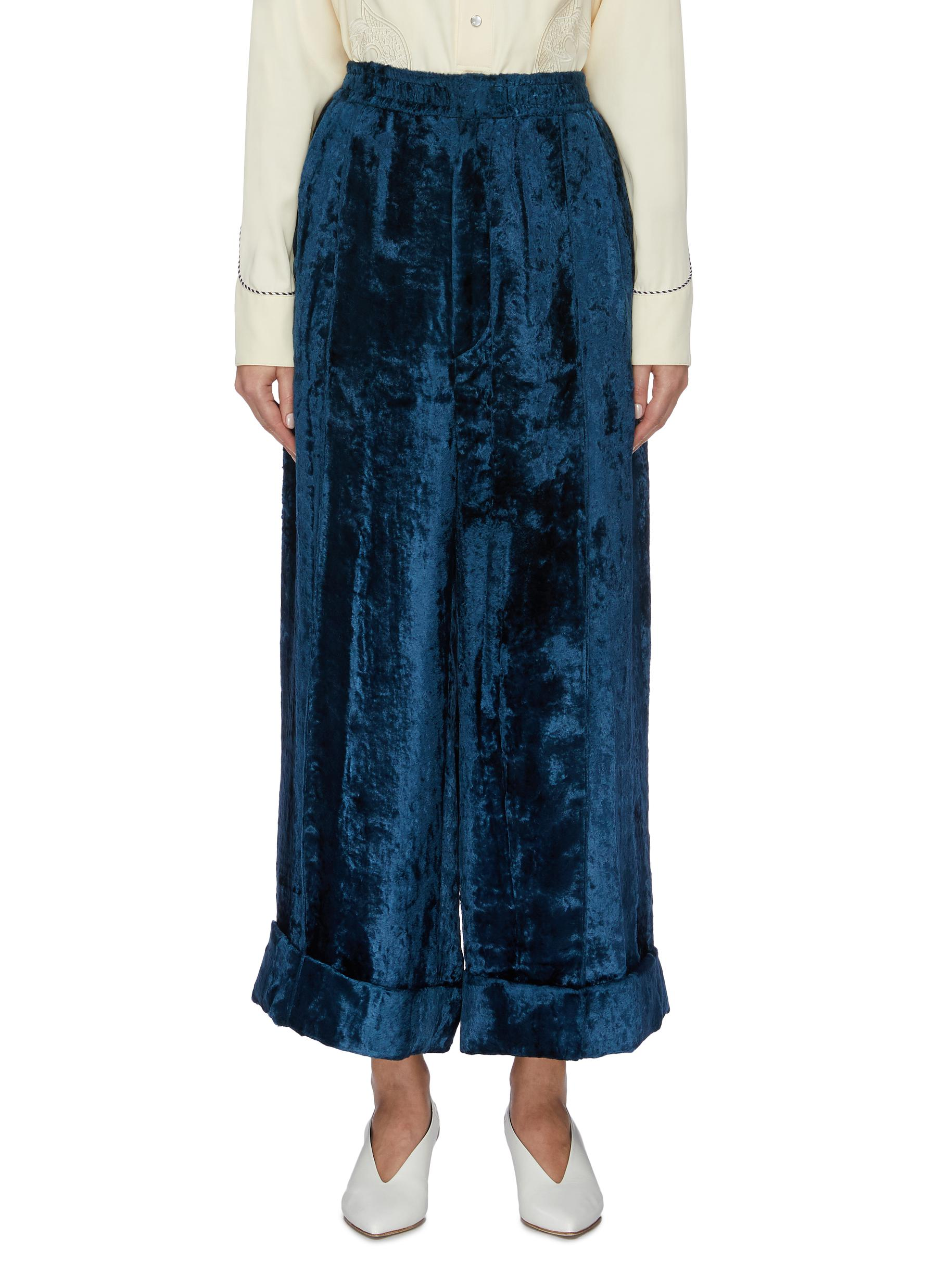Rolled cuff velvet wide leg pants by Toga Archives