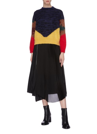 Figure View - Click To Enlarge - TOGA ARCHIVES - Colourblock animal print jacquard sweater