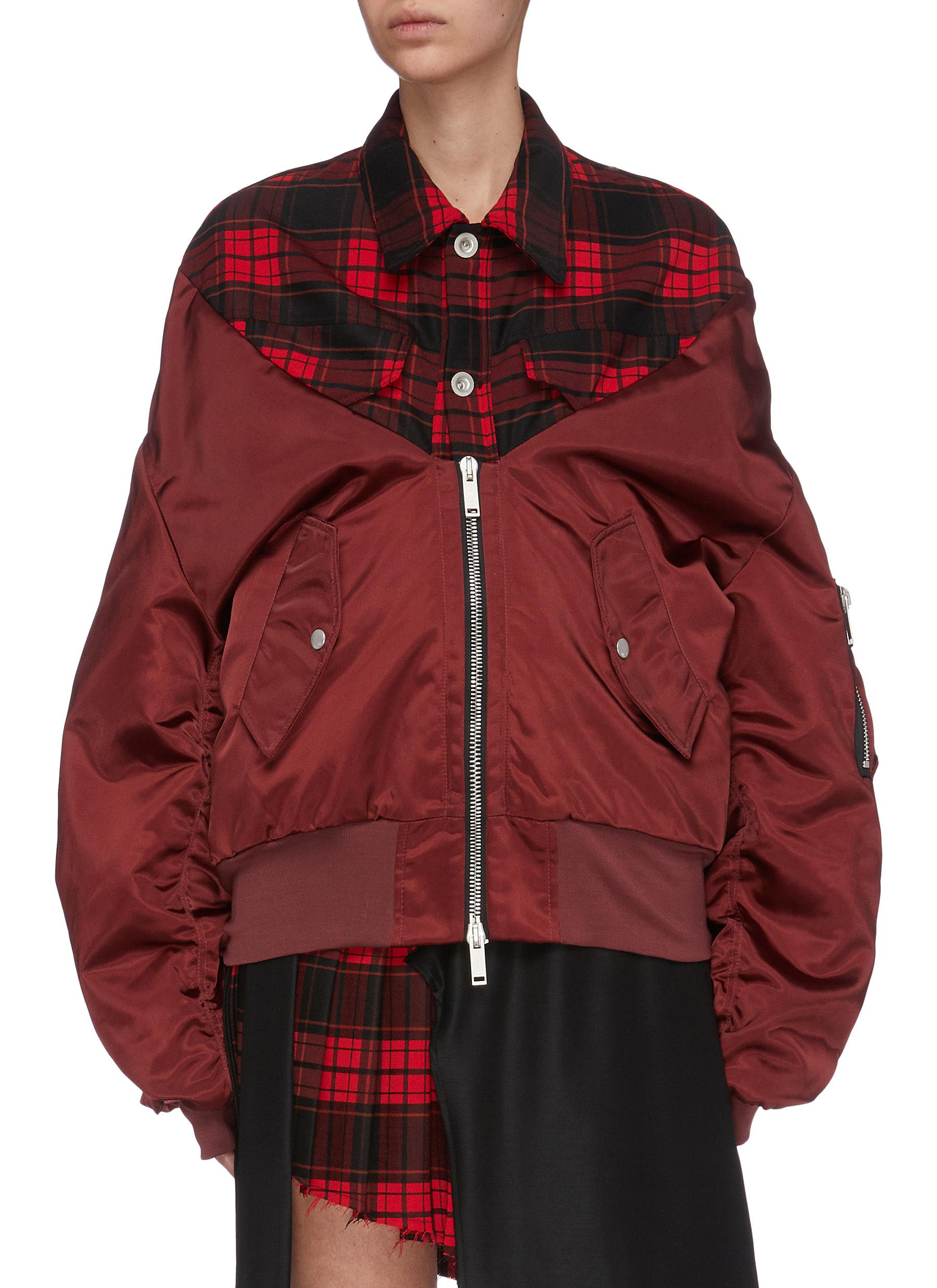 Check plaid panelled bomber jacket by Ben Taverniti Unravel Project