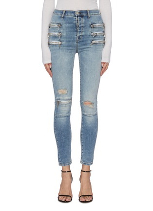 Main View - Click To Enlarge - BEN TAVERNITI UNRAVEL PROJECT  - Zip ripped skinny jeans