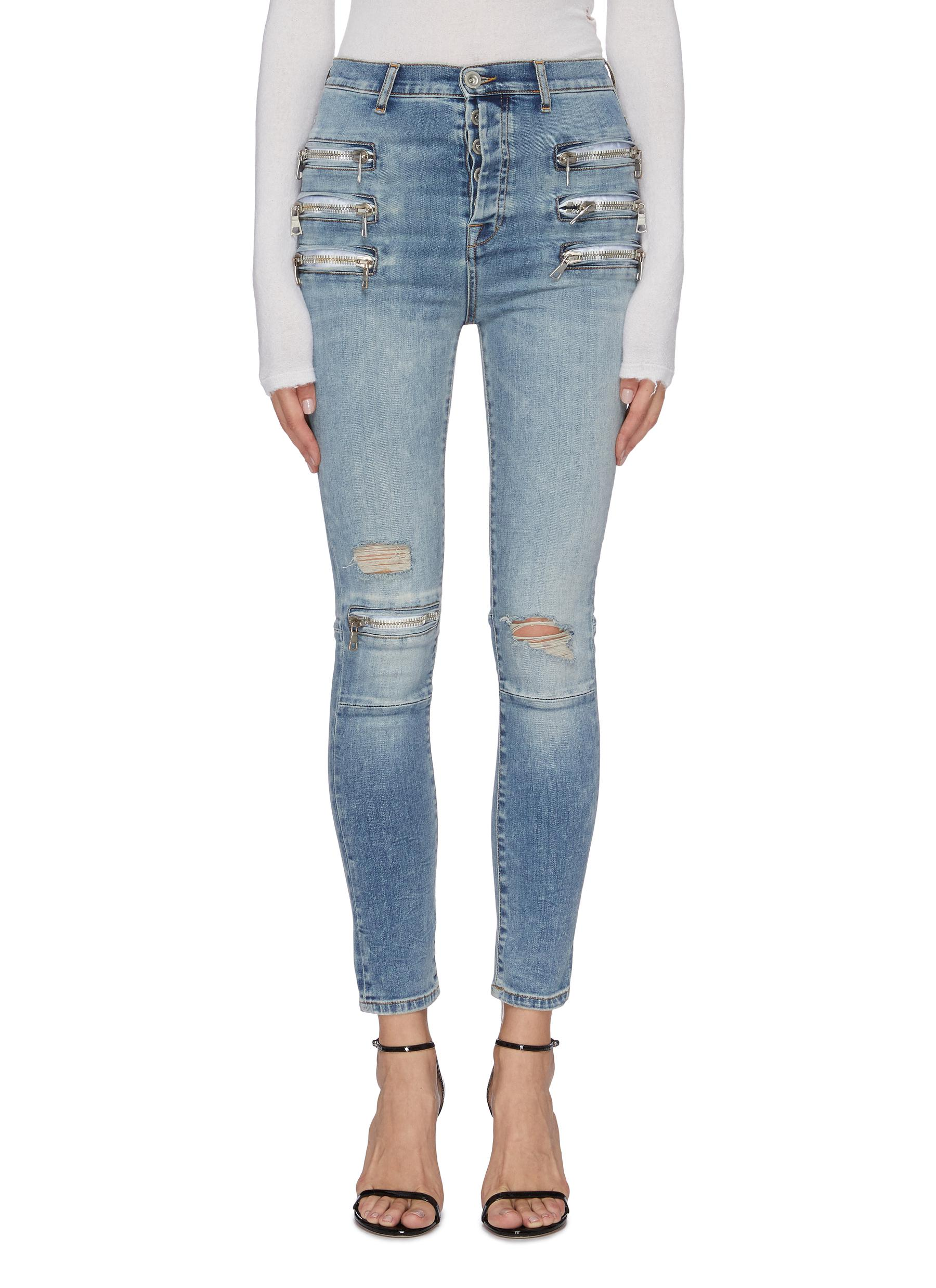 Zip ripped skinny jeans by Ben Taverniti Unravel Project