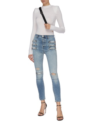 Figure View - Click To Enlarge - BEN TAVERNITI UNRAVEL PROJECT  - Zip ripped skinny jeans