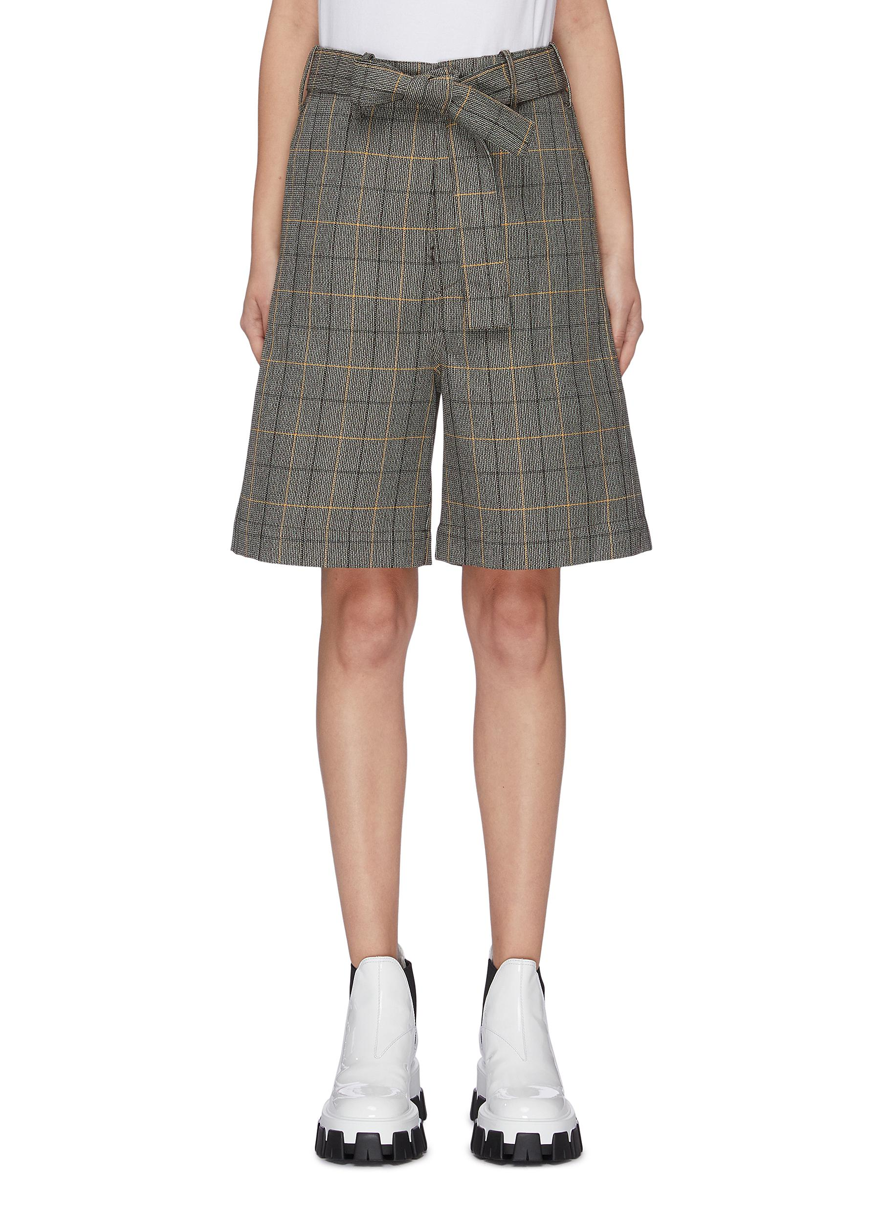 Belted check plaid wool blend shorts by Plan C