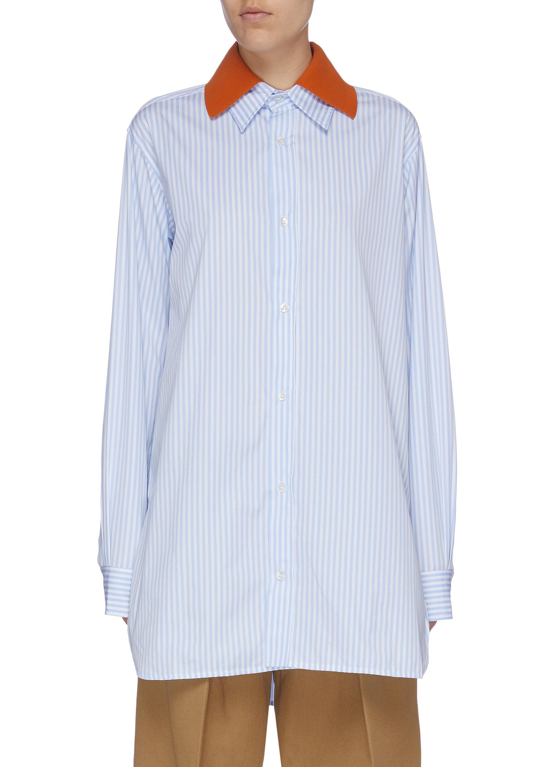 Colourblock layered collar stripe shirt by Plan C