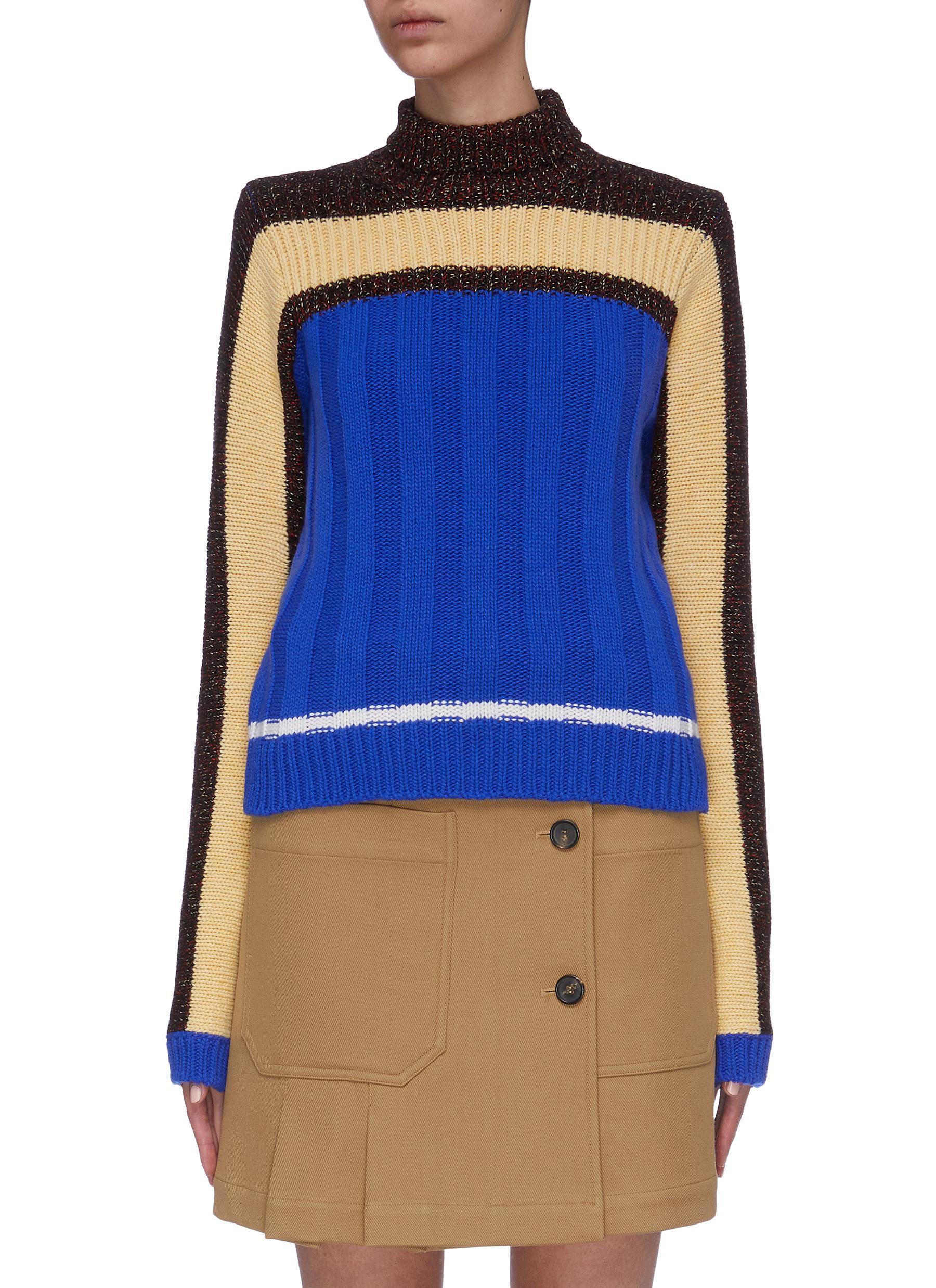 Stripe colourblock turtleneck sweater by Plan C