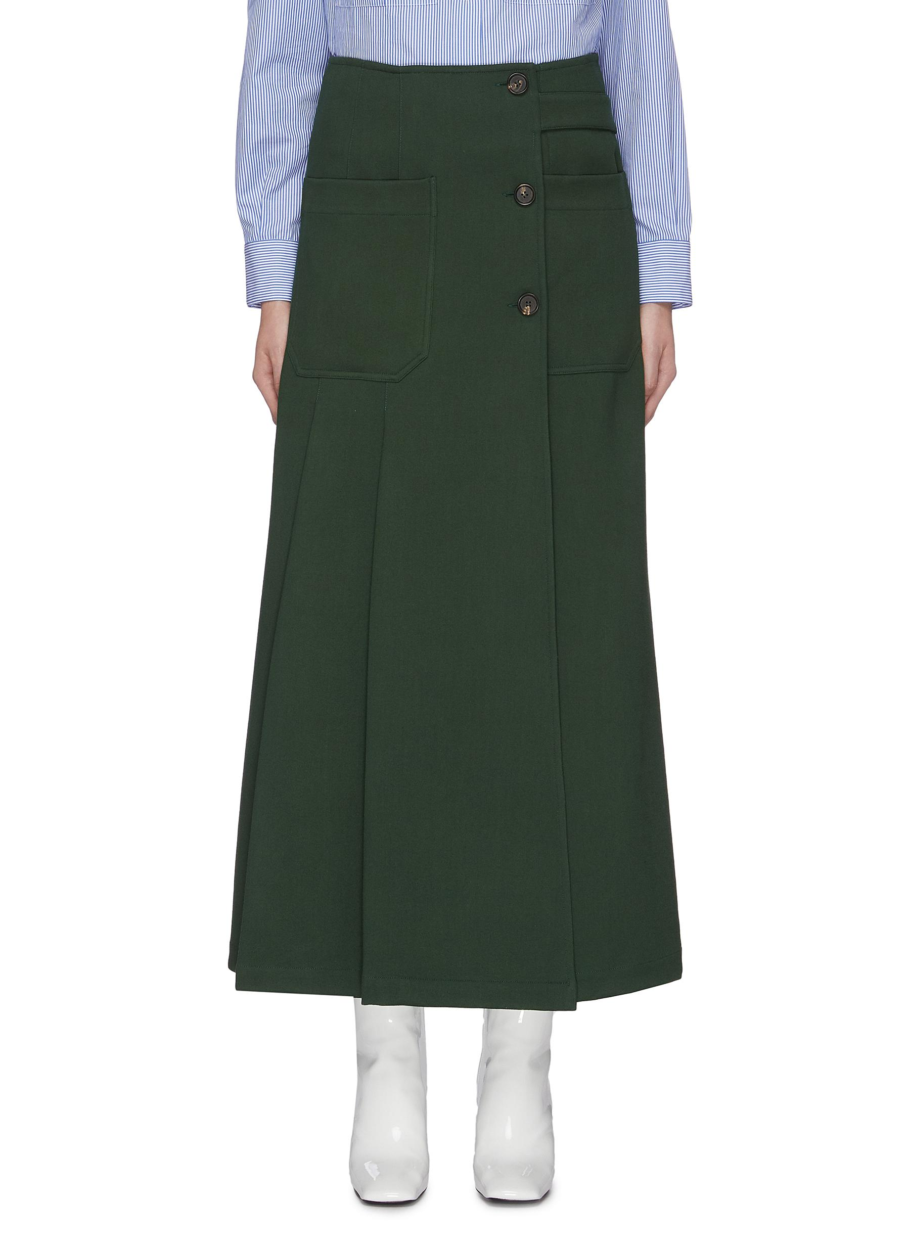 Patch pocket button front pleated skirt by Plan C