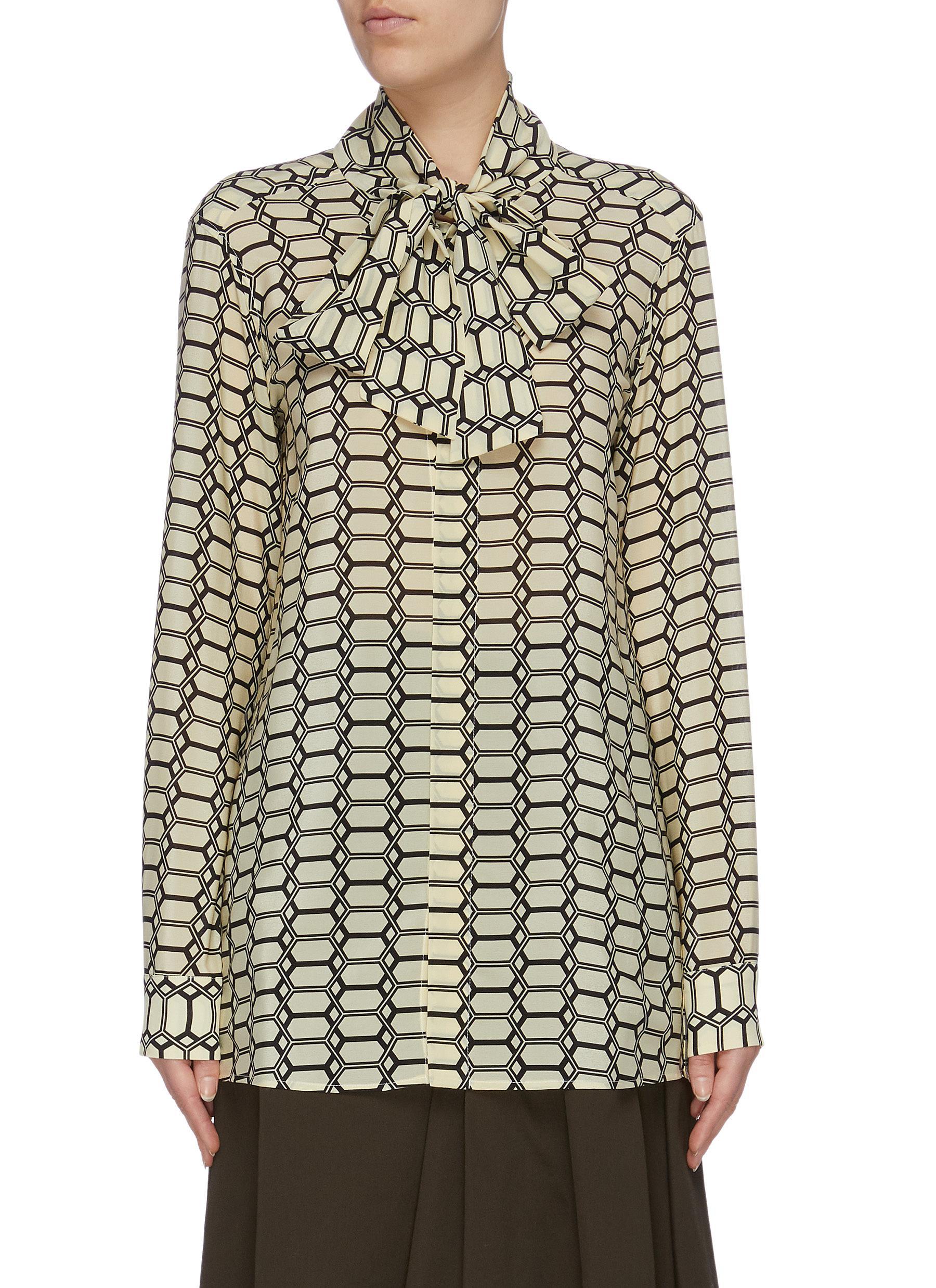 Geometric print silk crepe pussybow blouse by Plan C
