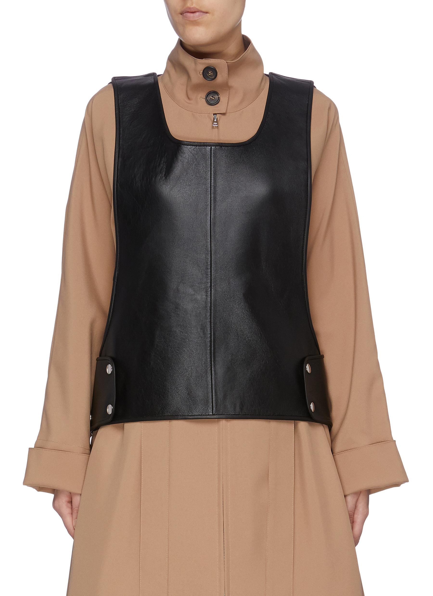 Snap button leather bib top by Plan C
