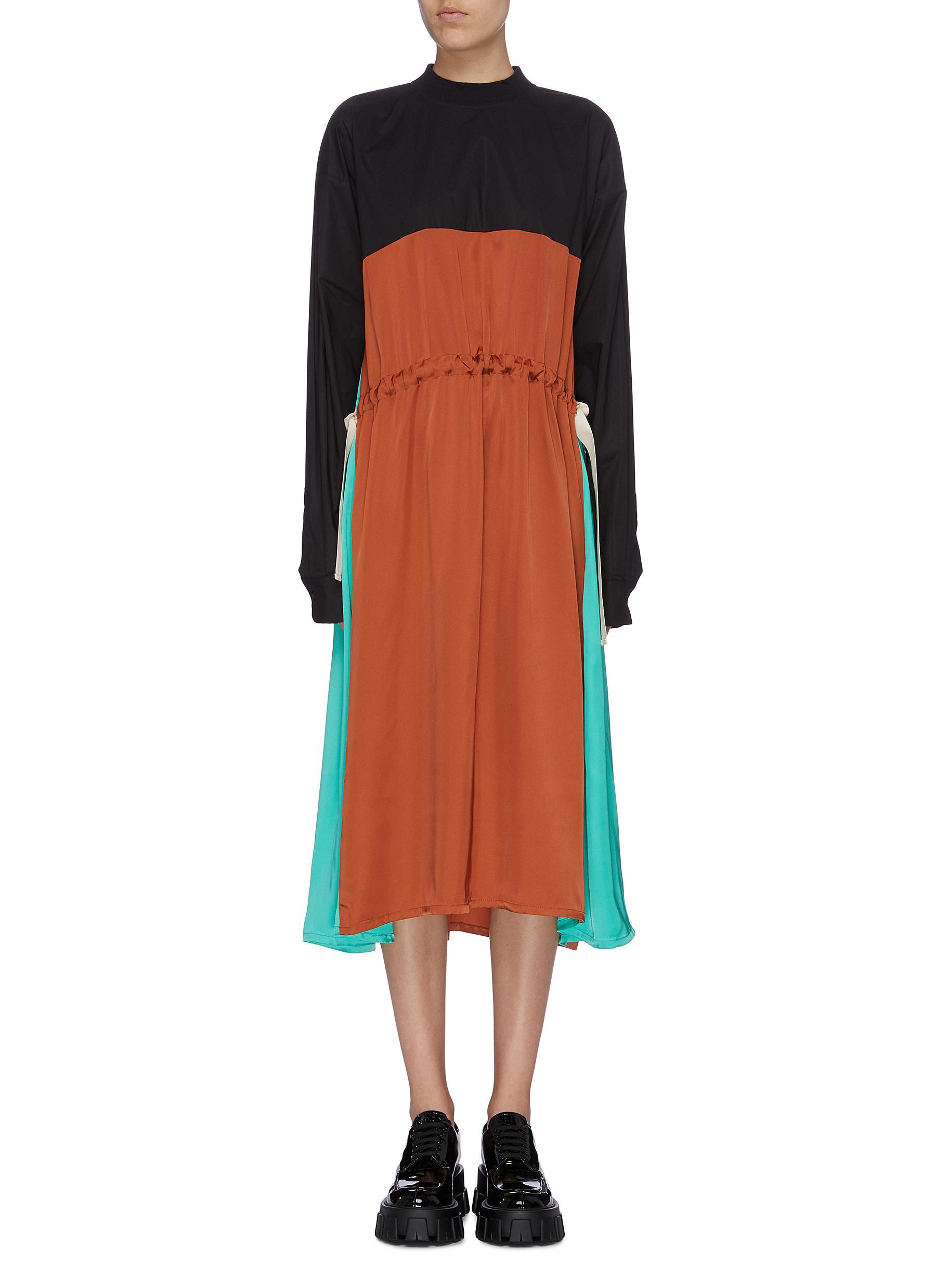 Drawstring waist colourblock satin dress by Plan C