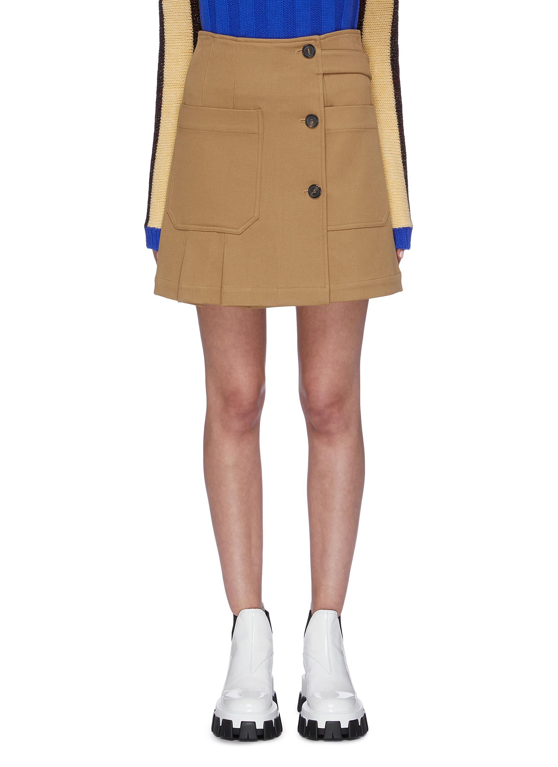 Patch pocket asymmetric pleated twill skirt by Plan C
