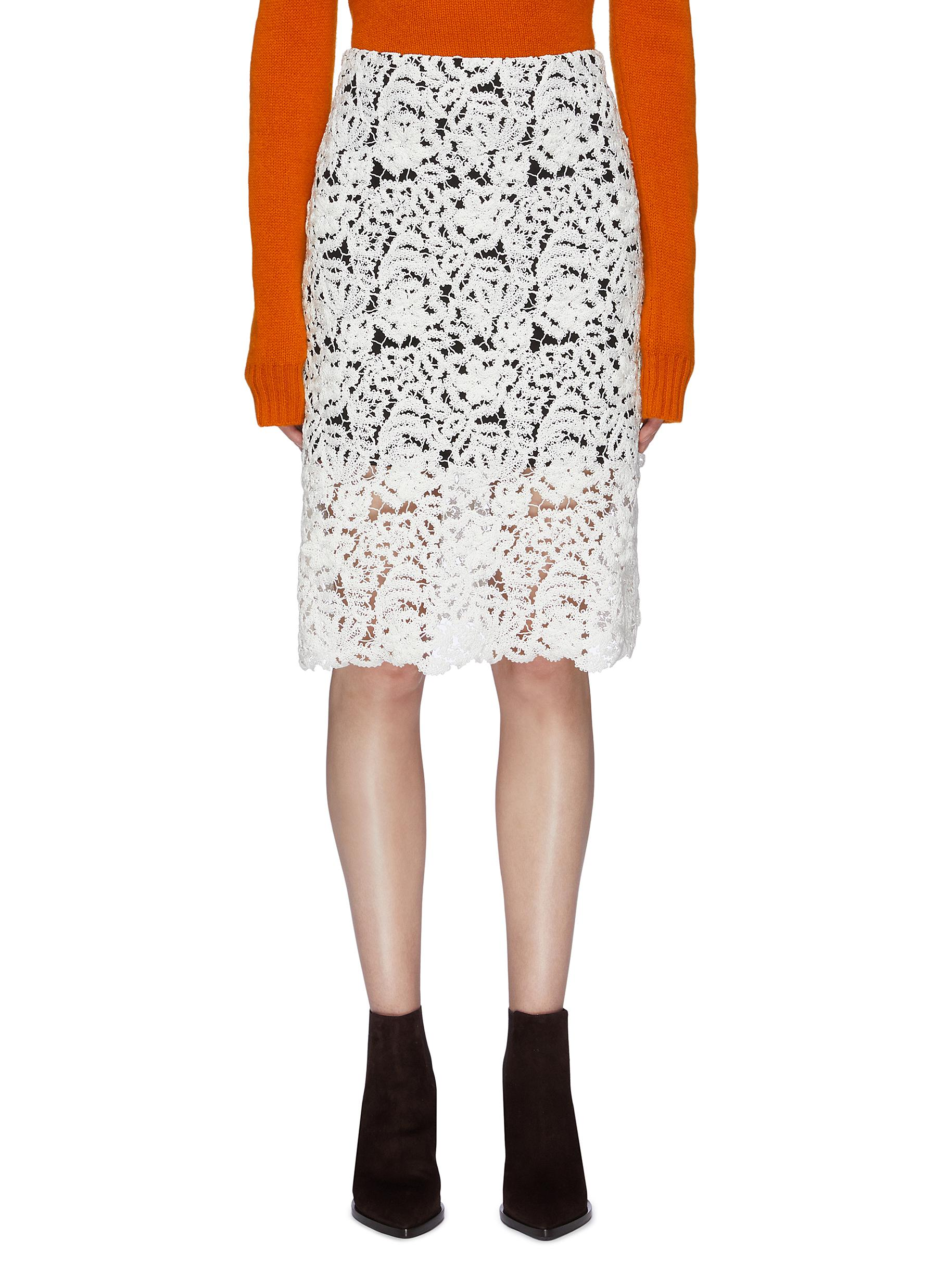 Floral guipure lace pencil skirt by Chloé