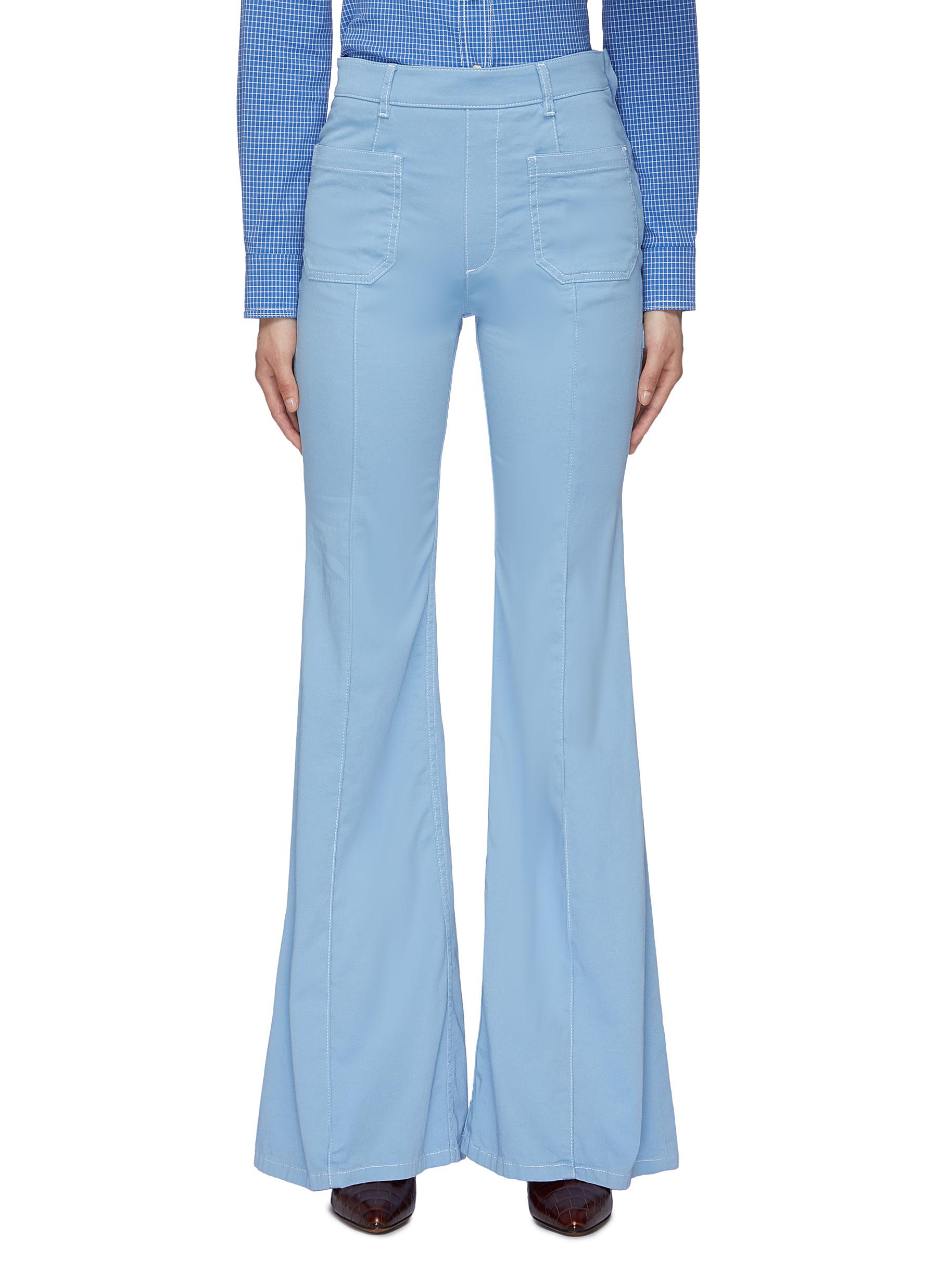 Contrast topstitching patch pocket twill flared pants by Chloé