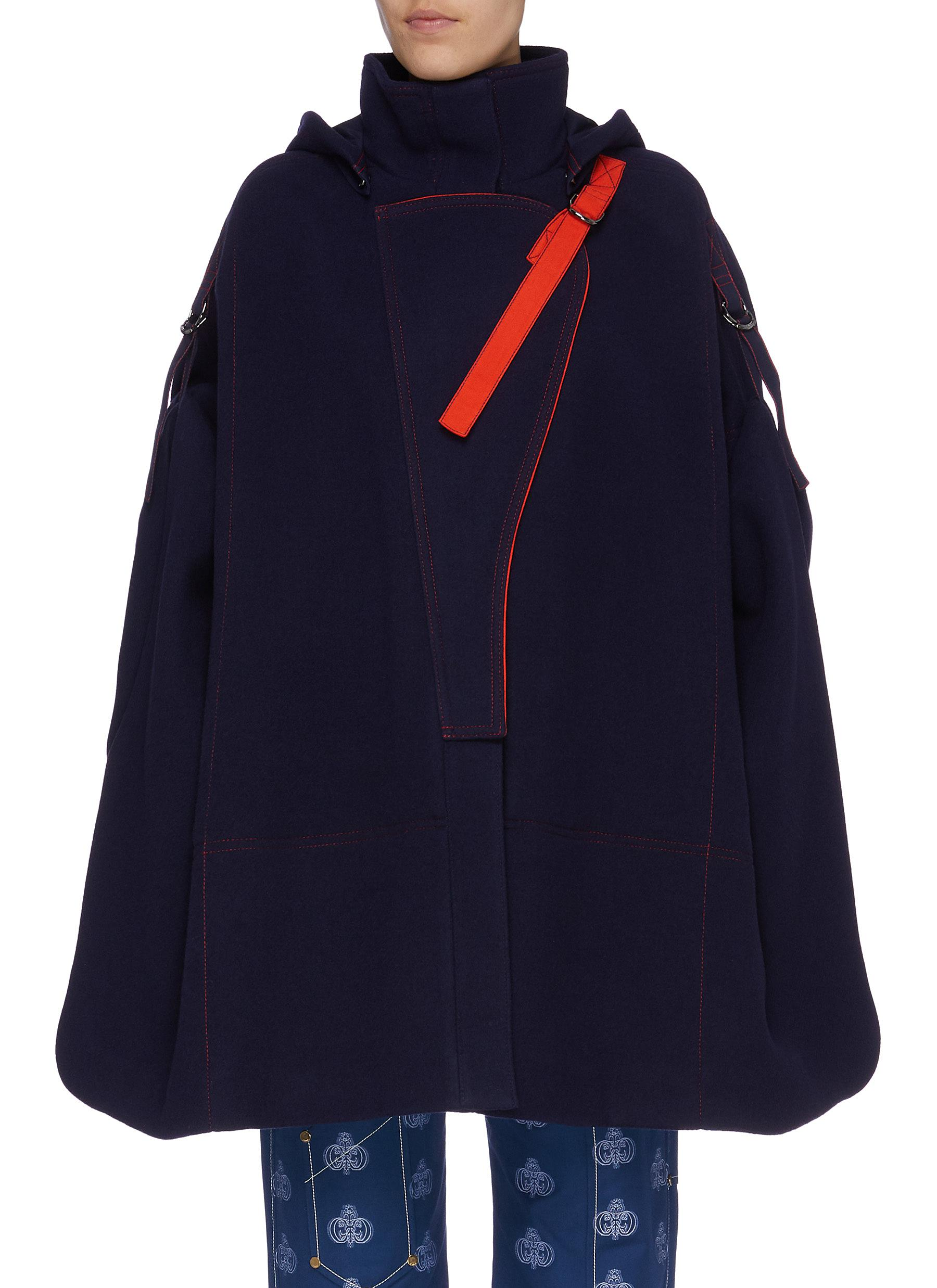 D-ring strap hooded melton oversized high neck military cape by Chloé
