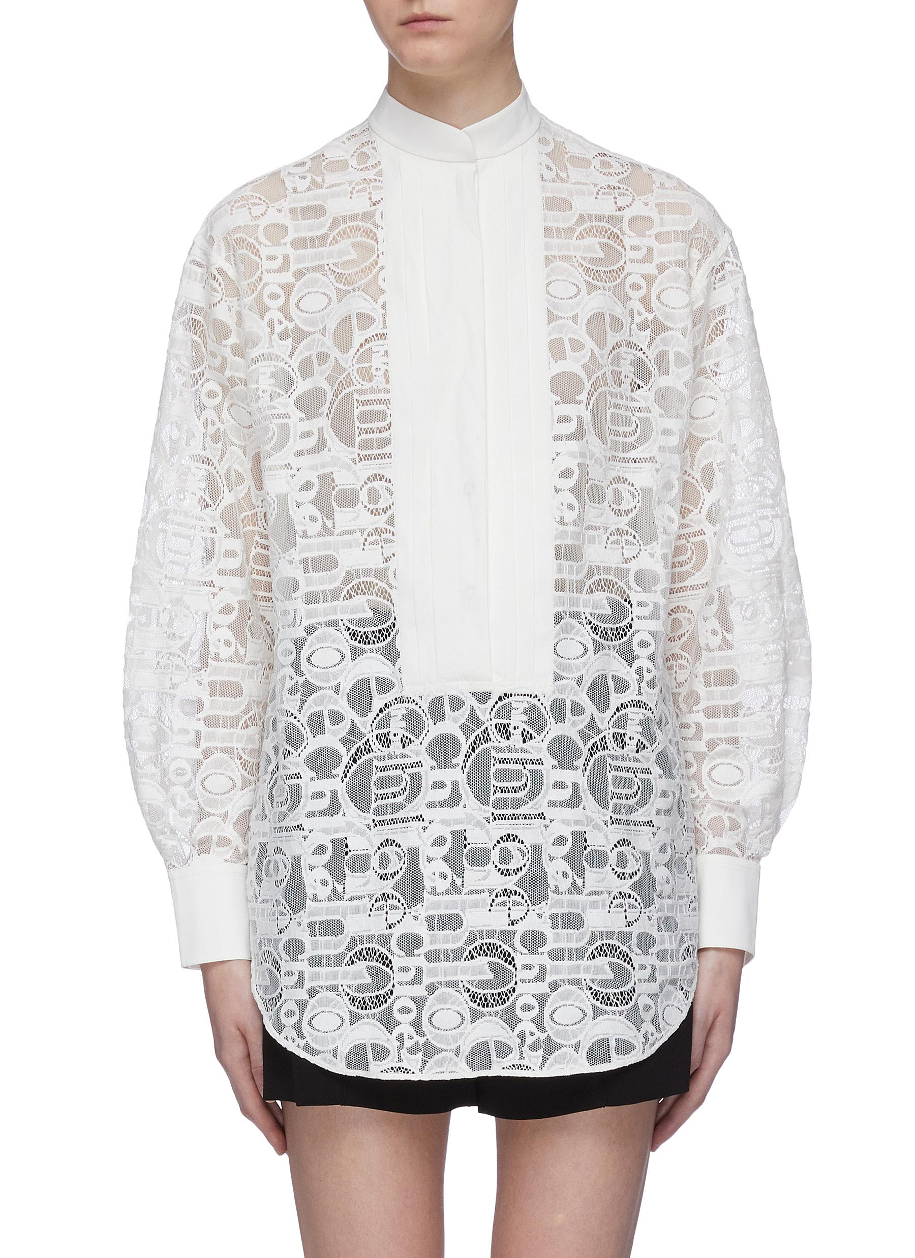 Pleated bib logo lace shirt by Chloé