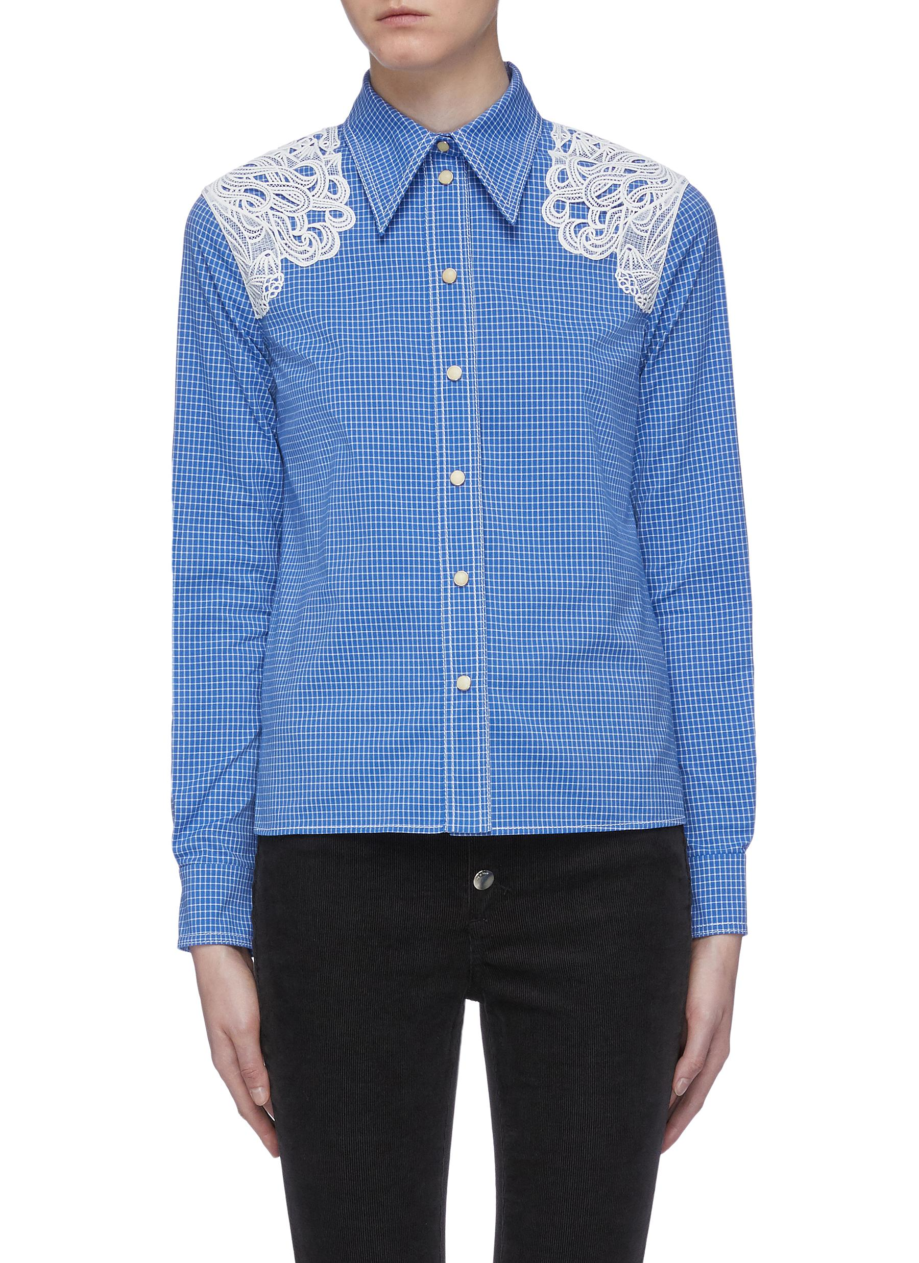 Guipure lace panel check shirt by Chloé