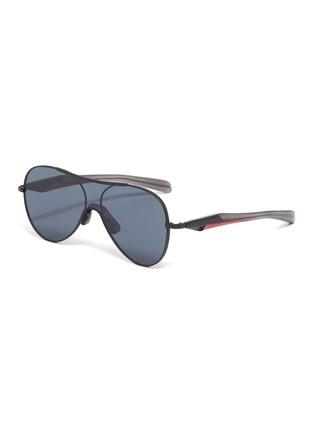 Main View - Click To Enlarge - FIXXATIVE - 'Arete' acetate temple metal aviator sunglasses