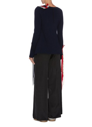 Back View - Click To Enlarge - LOEWE - Ribbon drape button sweater