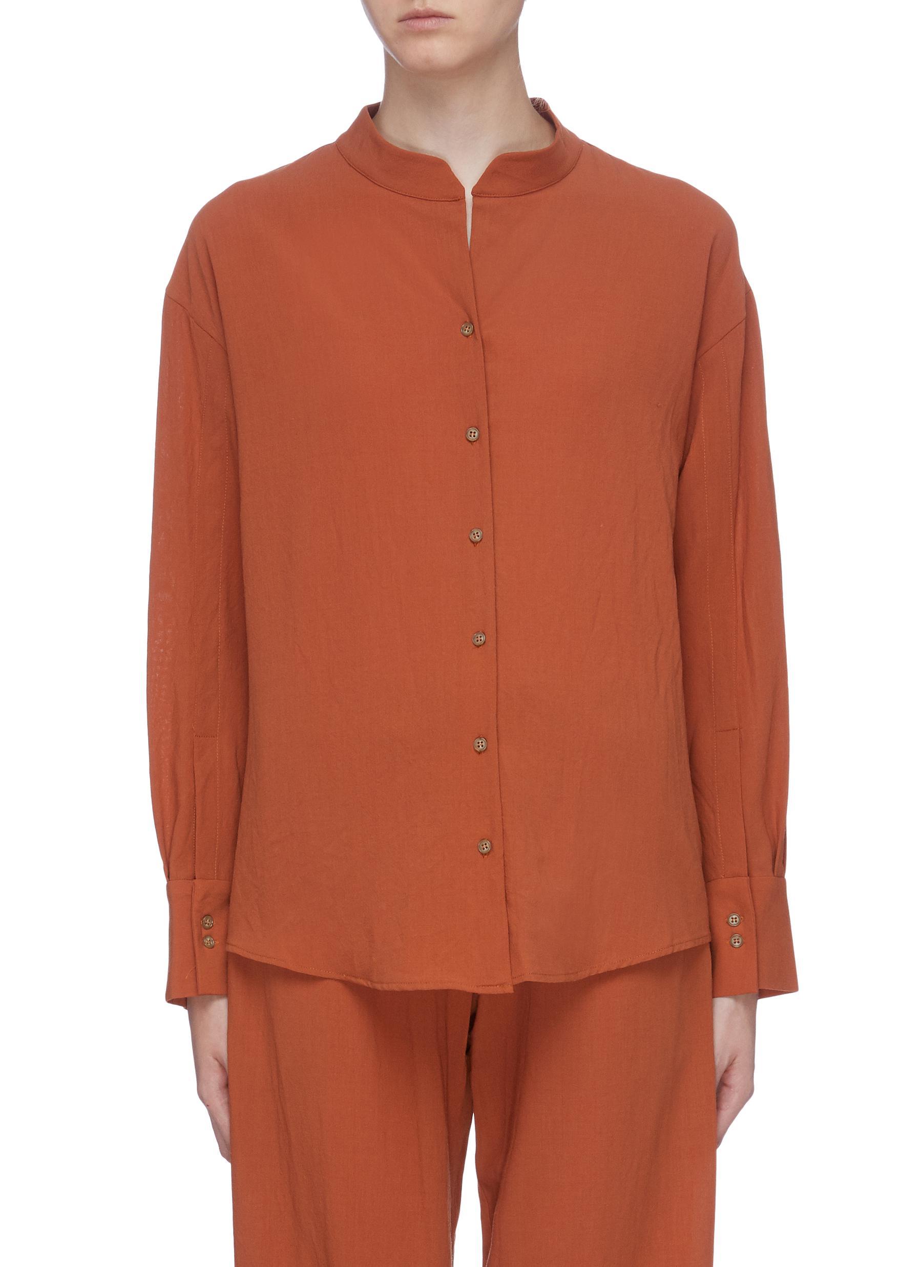 Mandarin collar wool shirt by Thomas Puttick