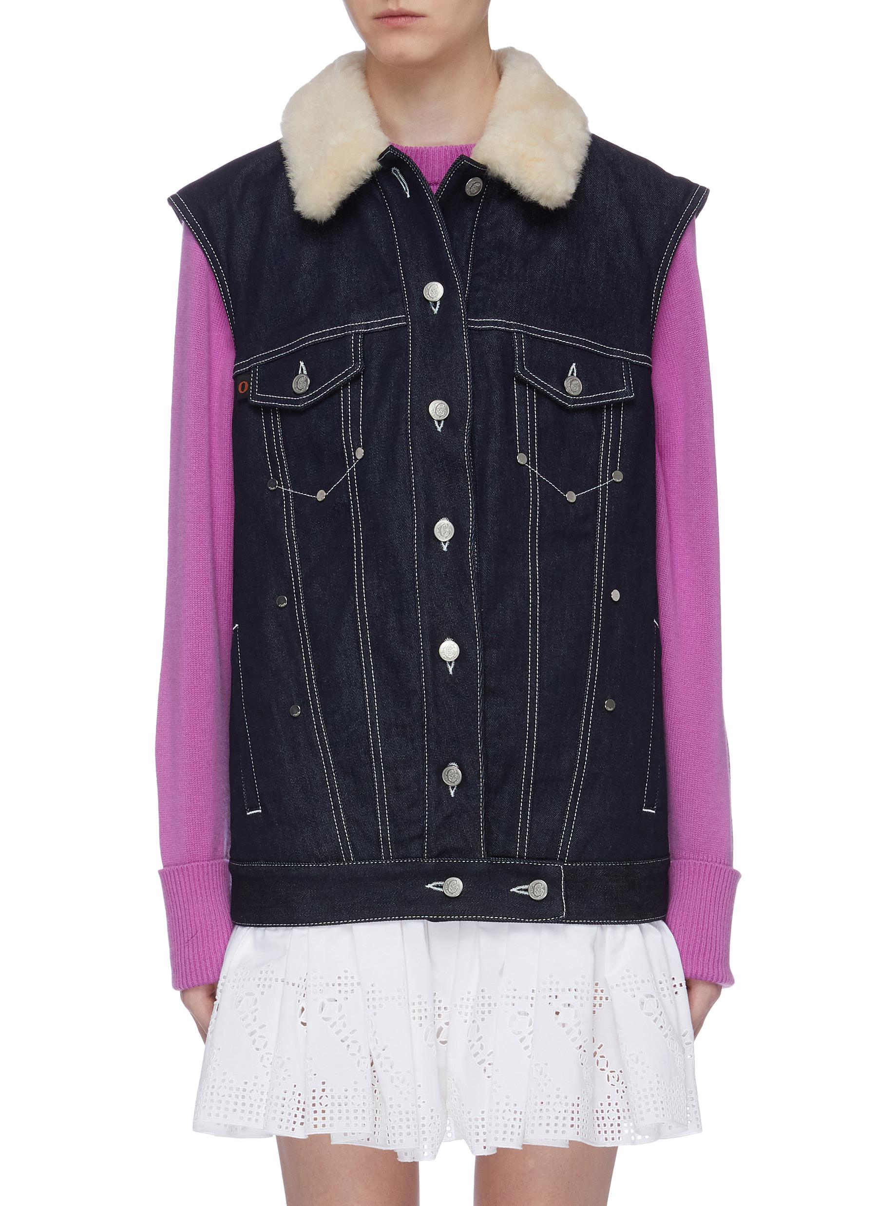 Shearling collar contrast topstitch denim vest by Chloé