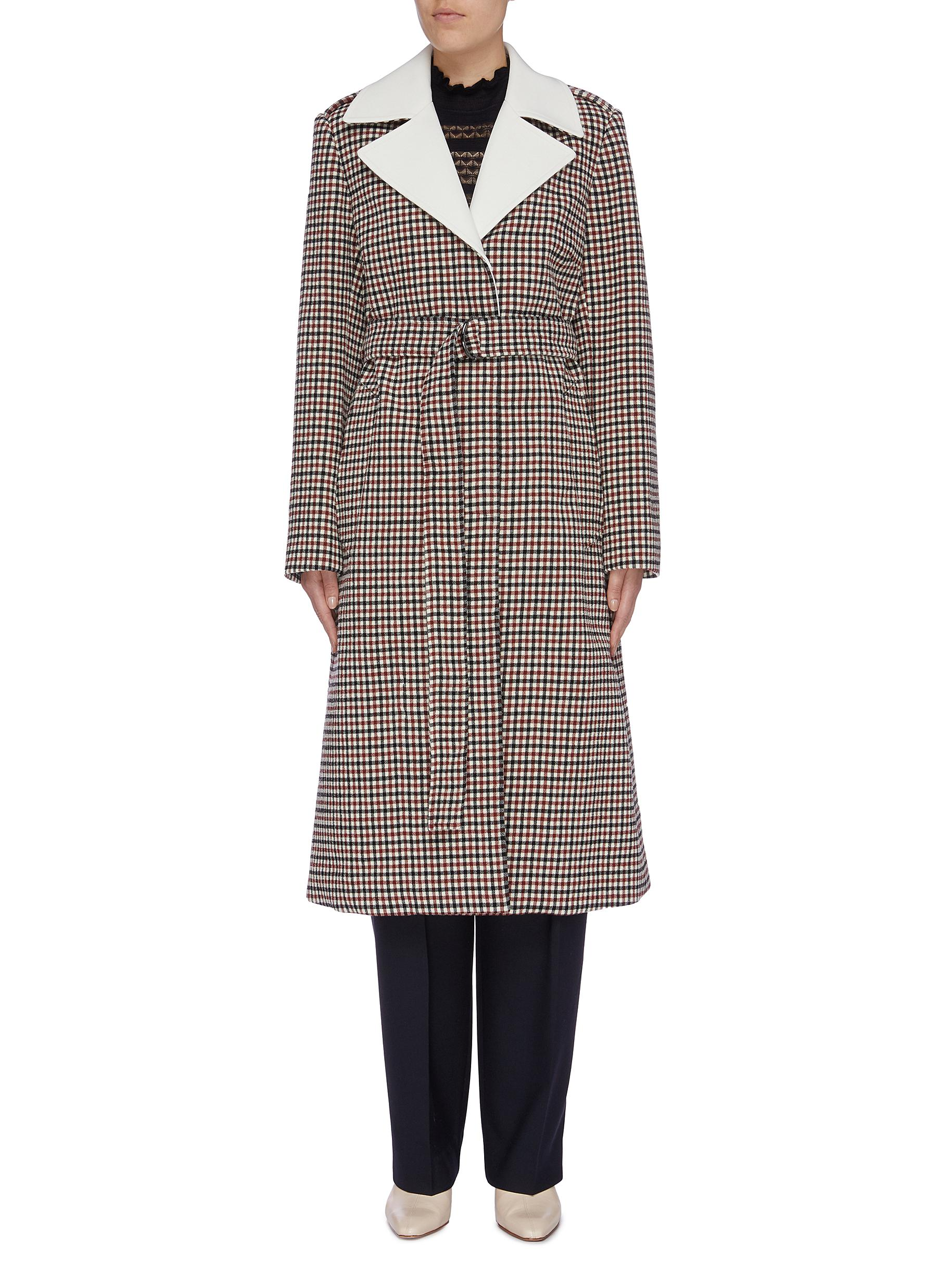 Belted check coat by Chloé