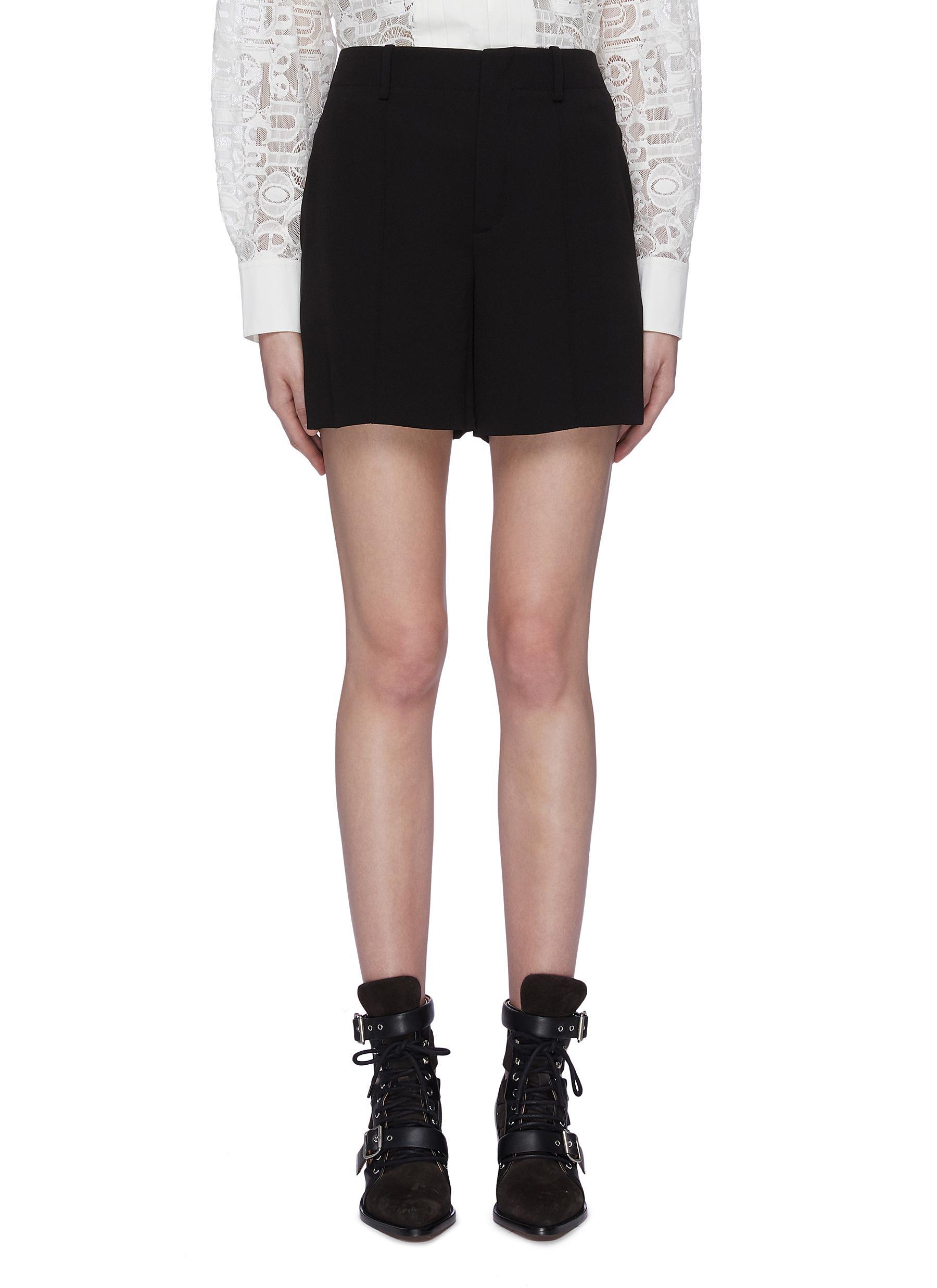 Pintuck crepe shorts by Chloé