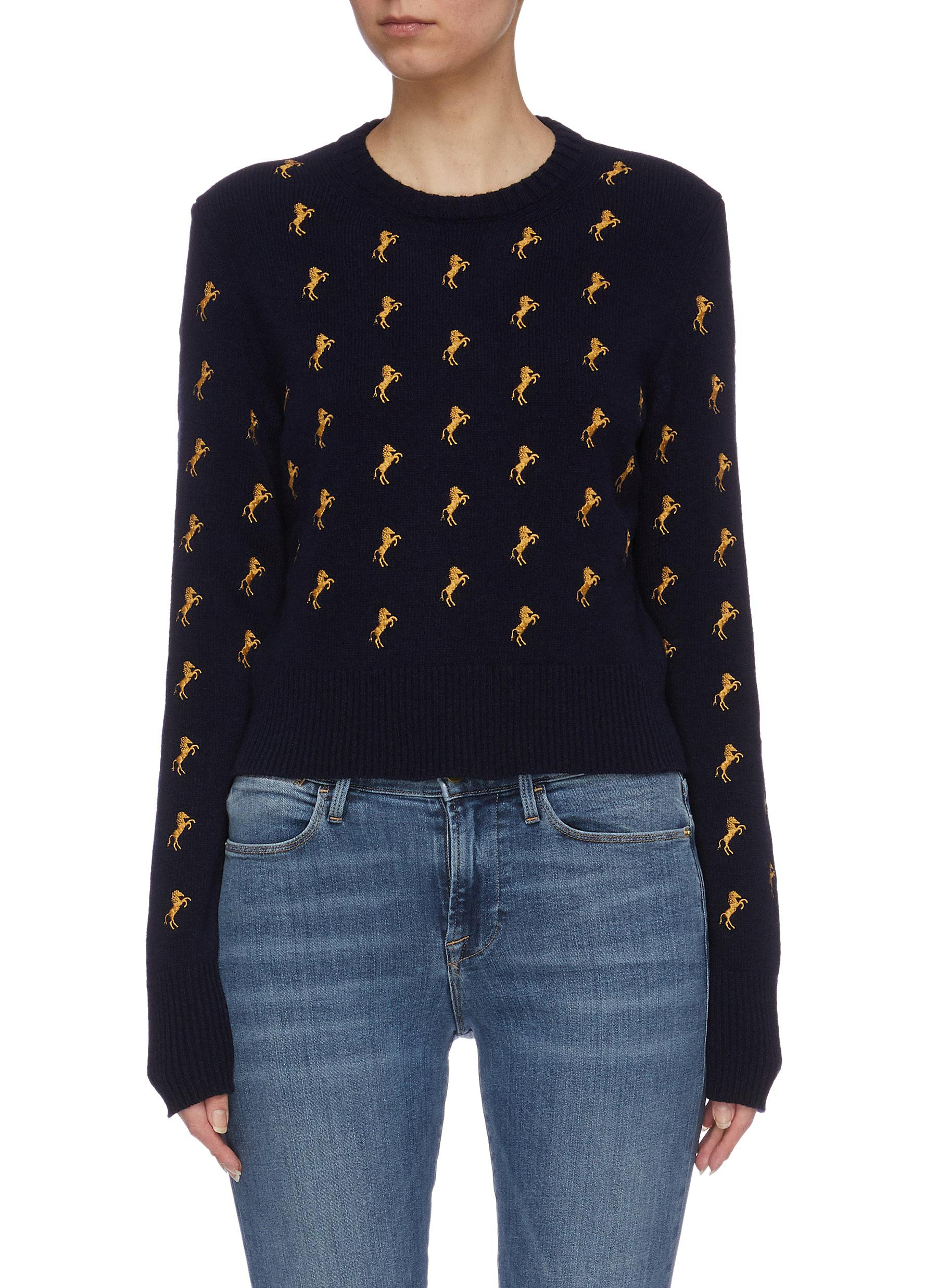 Tie keyhole back horse embroidered cropped sweater by Chloé