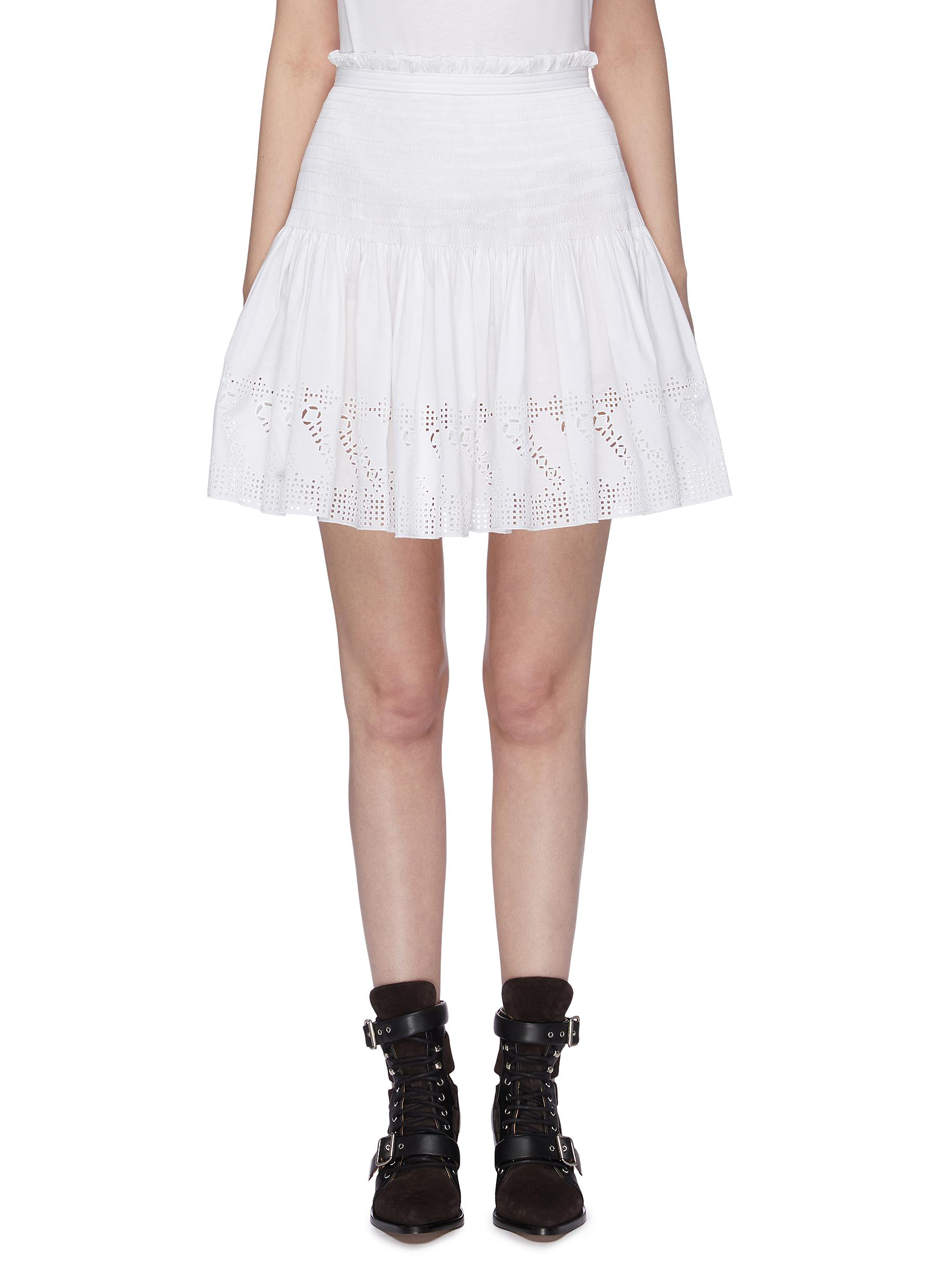 Smocked pleated broderie anglaise mini skirt by Chloé