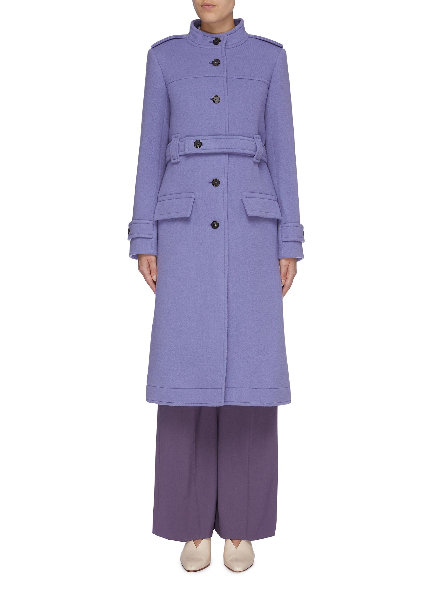 Belted melton military coat by Chloé