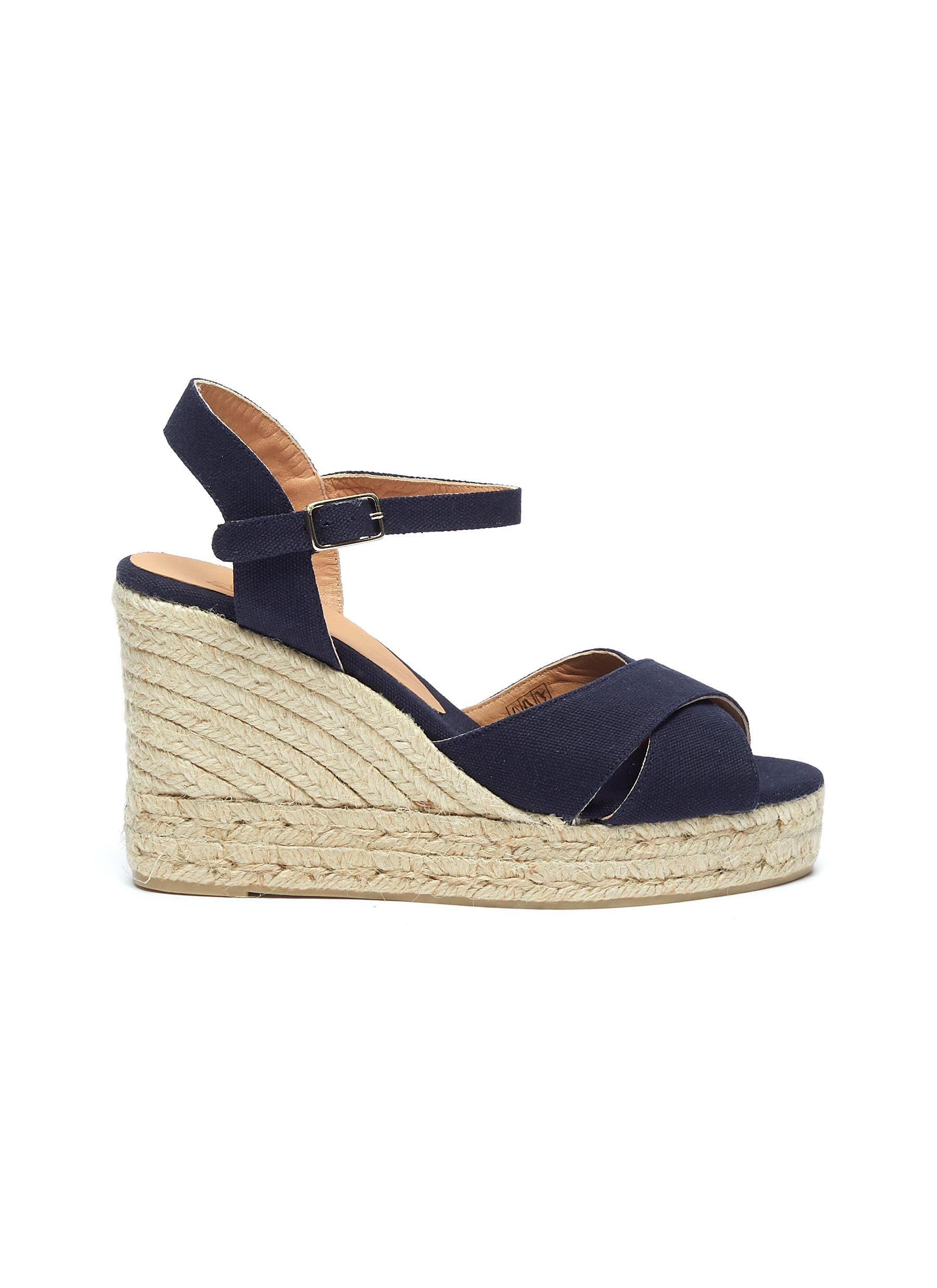Blaudell ankle strap canvas wedge espadrille sandals by Castañer