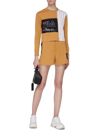 Figure View - Click To Enlarge - FILA X 3.1 PHILLIP LIM - Logo print zip pocket sweat shorts