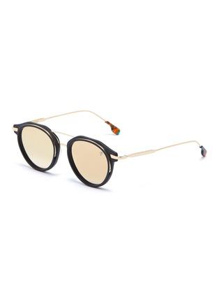 Main View - Click To Enlarge - PEPPERTINT - 'Inglewood' acetate rim mirror metal round aviator sunglasses