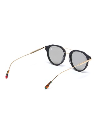 Figure View - Click To Enlarge - PEPPERTINT - 'Inglewood' acetate rim mirror metal round aviator sunglasses
