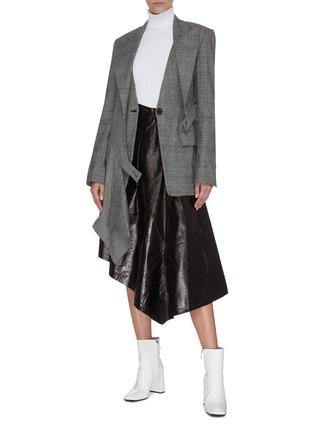 Figure View - Click To Enlarge - PROENZA SCHOULER - Asymmetric drape ruffle leather midi skirt