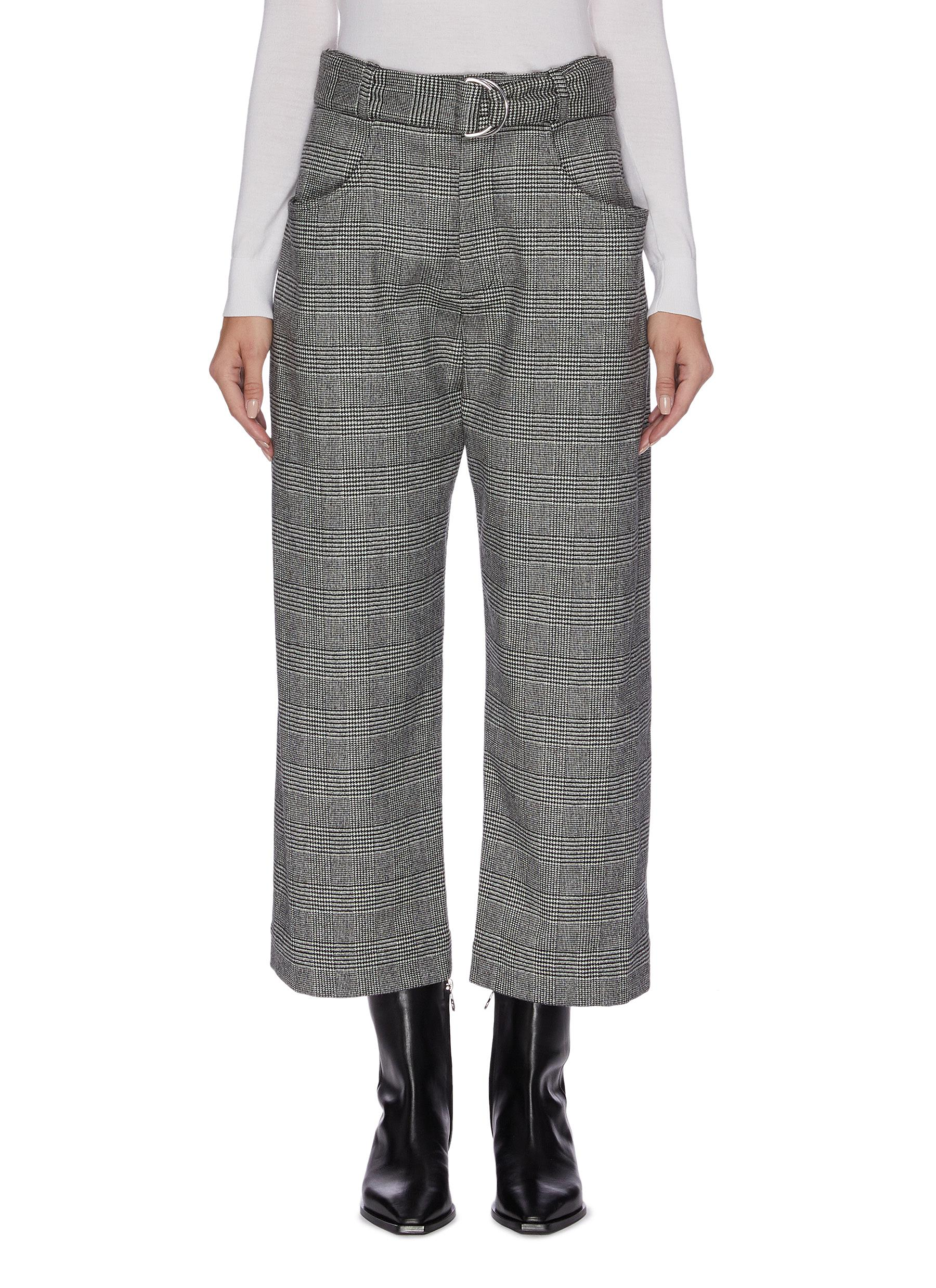 Belted check plaid suiting pants by Proenza Schouler