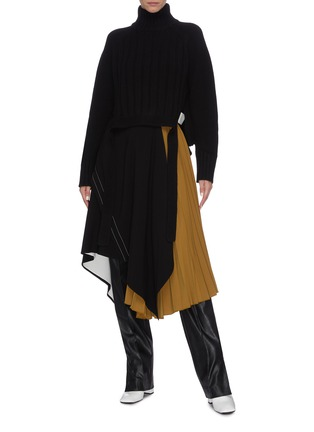 Figure View - Click To Enlarge - PROENZA SCHOULER - Asymmetric panelled pleated midi skirt