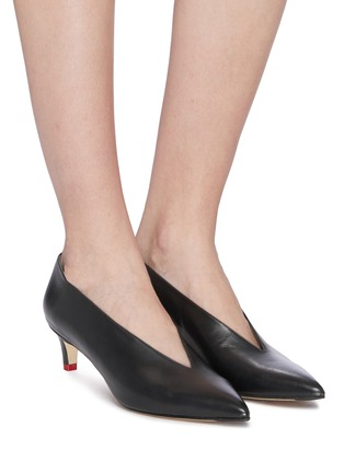 Figure View - Click To Enlarge - AEYDE - 'Camilla' choked-up leather pumps