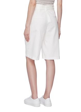 Back View - Click To Enlarge - VINCE - Belted oversized cotton-linen shorts