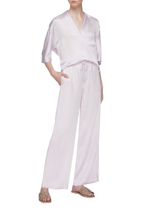 Figure View - Click To Enlarge - VINCE - Silk satin wide leg pyjama pants