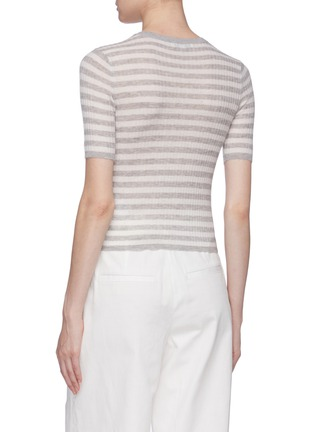 Back View - Click To Enlarge - VINCE - Stripe cashmere rib knit top