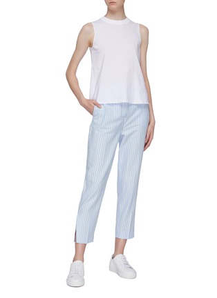 Figure View - Click To Enlarge - VINCE - Ribbed crew neck poplin sleeveless top