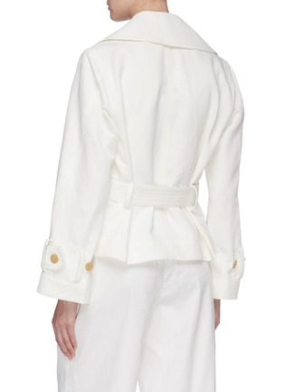 Back View - Click To Enlarge - VINCE - Belted cropped linen-cotton boxy jacket