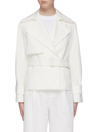Main View - Click To Enlarge - VINCE - Belted cropped linen-cotton boxy jacket