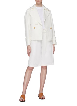Figure View - Click To Enlarge - VINCE - Belted cropped linen-cotton boxy jacket