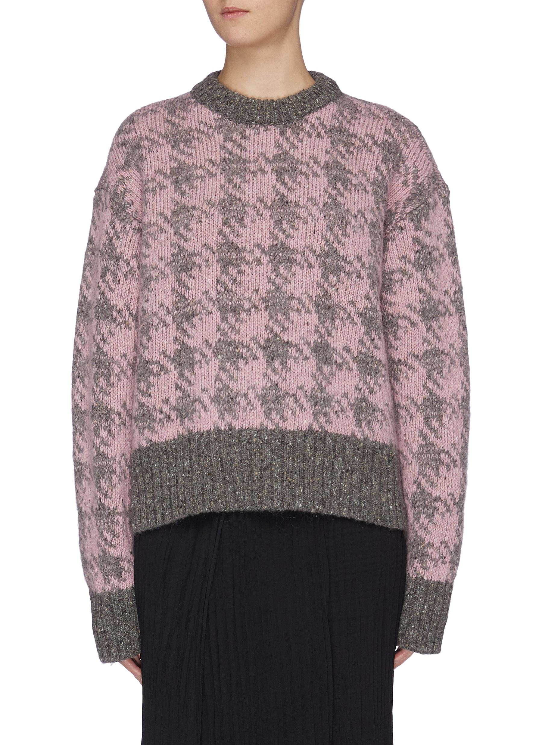 Pied De Poule houndstooth check Merino wool sweater by Joseph