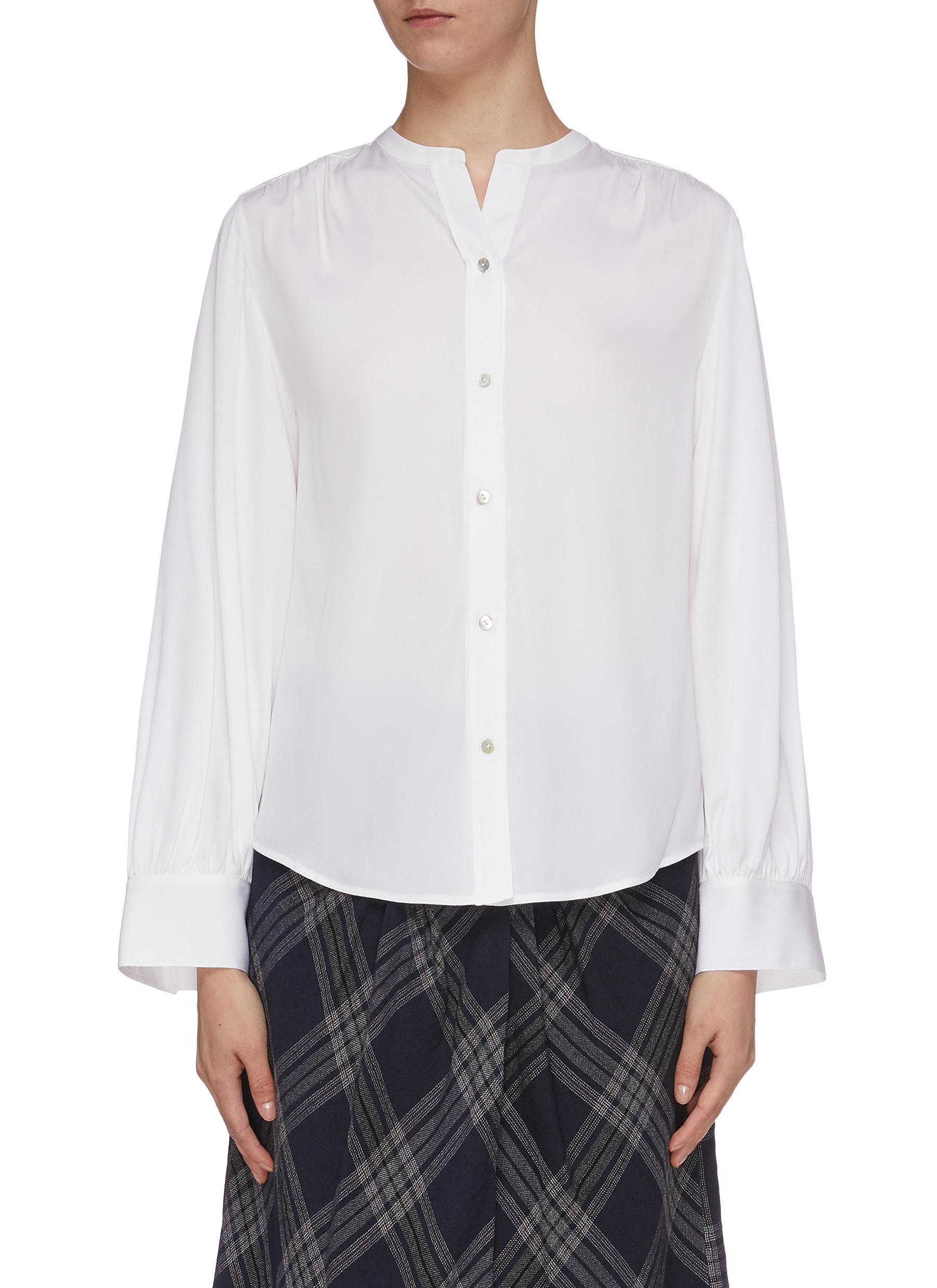 Shirred back silk satin blouse by Vince